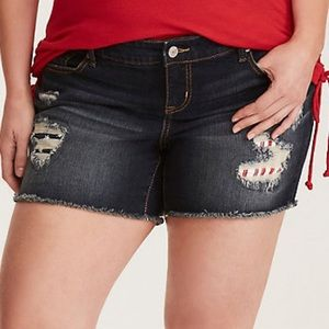 Torrid Size 24 USA Flag Distressed Jean Shorts